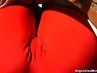 big boobs & big cameltoe tun sexy Yoga in Ultratight pants