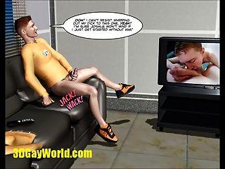 unsichtbaren Hahn Homosexuell sci fi 3D-Comic-komische Geschichte animiert