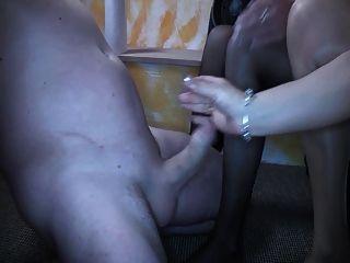 Doppelfoot und Sperma auf Strümpfen