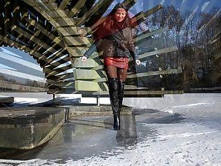 total Leder: auf Eis in High Heels Stiefel zu Fuß