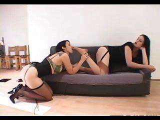 Lesben Nylon foot fetish