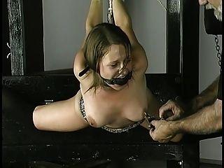 Sklave bekommt Seil um Handgelenke Brustwarzen geklemmt und Ballknebel in den Mund