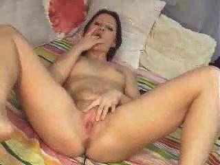 Hot Babe Streifen und Finger sich