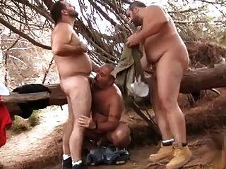 haarige trägt 3some in den Wäldern