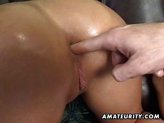 Amateur Teen Blowjob und anal mit riesigen Creampie