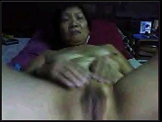 Amateur-Asiatische Oma auf Cam