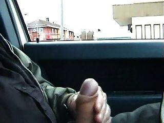 öffentliches Auto Streicheln und Sperma