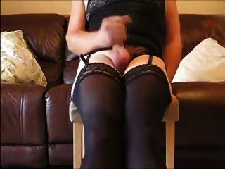 cd in schwarze Spitze panties cums hart