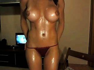 sexy Brünette necken \u0026 toying auf cam