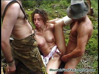 extreme harte deutsche Dreier in den Bergen