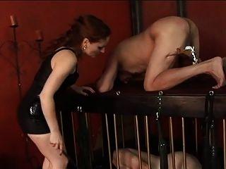 Kerl bekommt Bälle und Hahn Folter von dominatrix