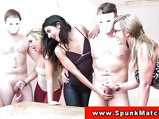 euro cfnm babes wank dudes off auf party