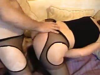 schöne weiße Arsch Hausfrau in sexy Strumpfhose