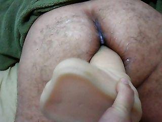 Frau Strapon auf großen Dildo in Arsch Ihr Mann close up