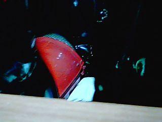 Oberschenkel hohe Stiefel rot und Körper pvc schwarz ...
