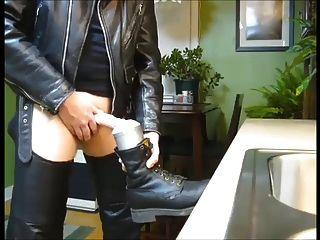 verbales Leder gebootet fleshlight fuck und cum