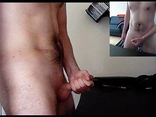Wichsen mit viel Sperma (Doppelansicht und Stöhnen)