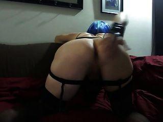sexy Tasha blauen Haaren heißen schwarzen Rock Strümpfe Crossdresser