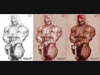 Muskeln Nackte Pumas mit Muskeln und