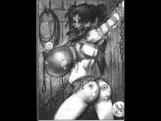 Rieses Seil gebunden Brust bdsm