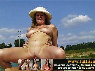 öffentliche Porno Casting mit großen Titten Euro MILF