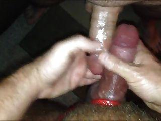Sperma abgedeckt Schwanz wird ficken heiß !!