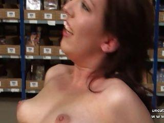hübsche junge Französisch Brünette hart mit Sperma 2 Mund sodomized