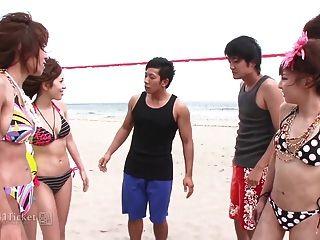 vier japanische Volleyball Mädchen in wilden Orgie (unzensierte jav)