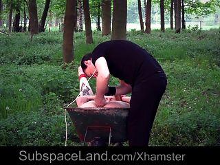 junger Sklave wird gefesselt und im Garten gefickt