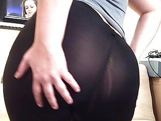 Pawg dicken Arsch in durchschauen Spandex Yoga Hosen