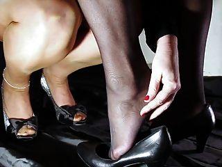 Zeitlupenfuß und Nylon erotisch
