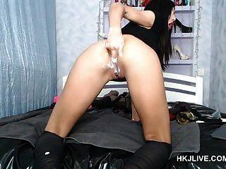 hotkinkyjo Webcam mit Faust \u0026 Weinflasche im Arsch hkjlive