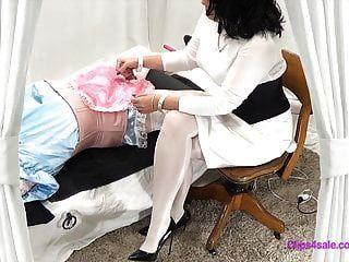 Domina Strumpfhosen Krankenschwester Bdsm Sissy Prüfung Handjob